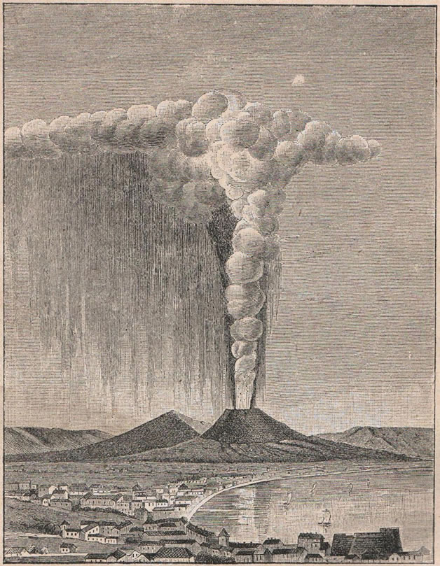 Рис. 64. Пиніеобразное облако во время изверженія Везувія въ 1822 году.