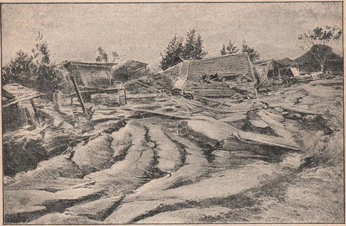 Рис. 67. Землетрясеніе въ Овари-Мино въ Японіи въ 1891 году. Разрушенныя зданія