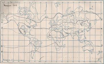 Рис. 2 Изотермы Іюля. Кривыми линіями соединены мѣста съ одинаковыми средними мѣсяч-ными температурами.
