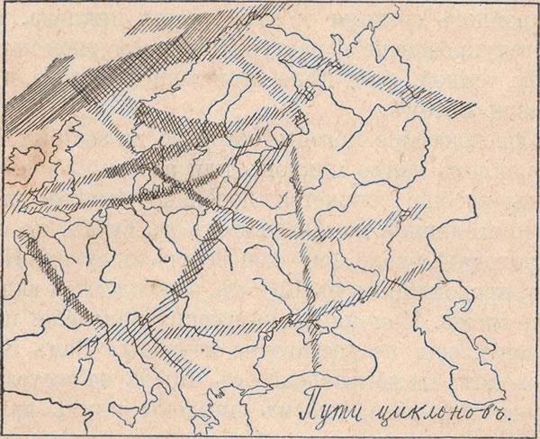 Рис. 89. Пути циклоновъ въ Европѣ.