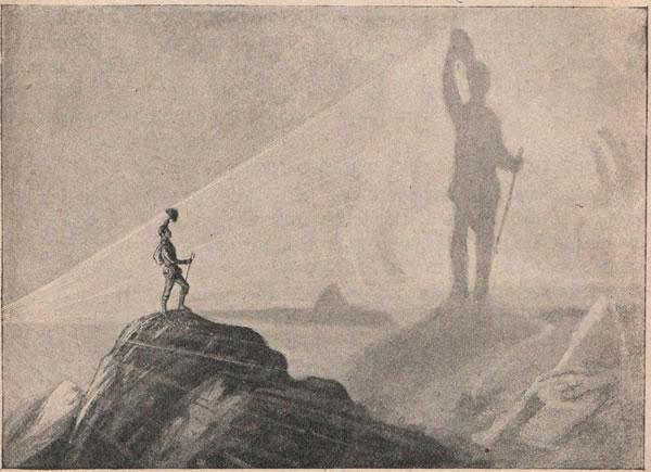 Рис. 94. Ходъ свѣтовыхъ лучей при брокенскомъ видѣніи. Солнце находится сзади наблюдателя, и тѣнь отъ наблюдателя образуется на слоѣ тумана.