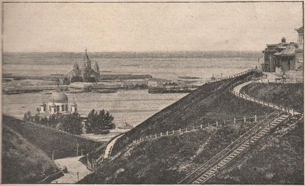 Рис. 110. Волга. Нижній-Новгородъ. Похвалинскій съѣздъ и ярмарка.