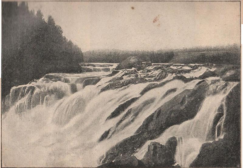 Рис. 116. Водопадъ Кивачъ на рѣкѣ Сунѣ, впадающей въ Онежское озеро. Высота уступа, съ котораго падаетъ вода, 7 саж.