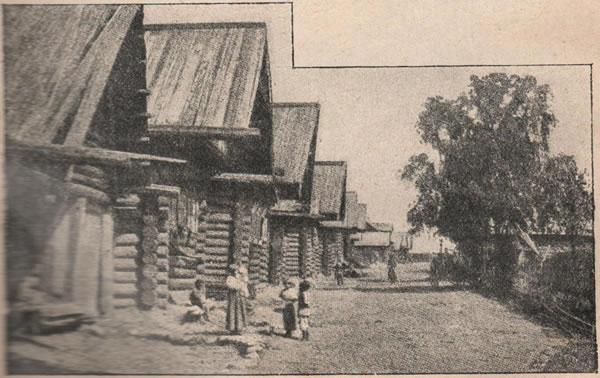 Рис. 122. Улица въ деревнѣ. Петербургской губерніи; постройки высоки, просторны, крыты тесом.