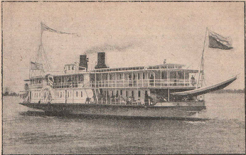 Рис. 144. Пассажирскій пароходъ на Волгѣ.