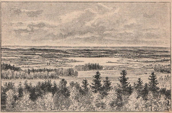 Рис. 147. Видъ мѣстности около Таммерфорса въ Финляндіи.