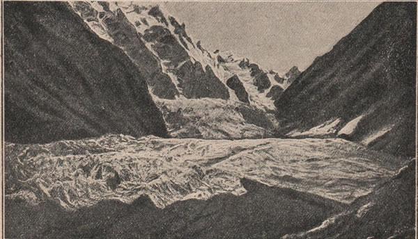 Рис. 158. Военно-Осетинская дорога изъ Владикавказа до Кутаиси. Цейскій ледникъ.