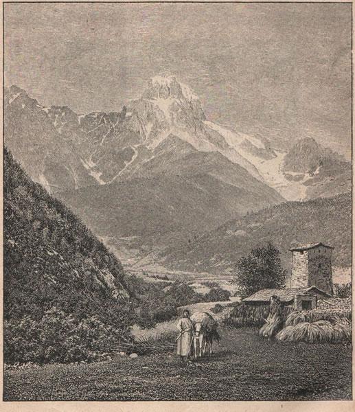 Рис. 164. Ушба въ Сванетіи. Сванетія—самая дикая и недоступная часть центральнаго Кавказа; это—котловина, окруженная со всѣхъ сторонъ горами съ снѣговыми вершинами, съ которыхъ спускаются самые большіе ледники кавказскихъ горъ.